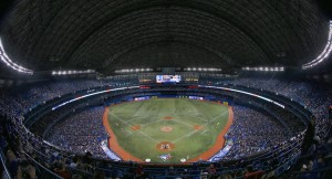 You are looking at not only the home park of the best team in baseball, but at enough indoor volume to hold 2,877 metric tons of carbon dioxide.  Ontario natural gas-fired power plants, contributing less than ten percent of the province's electrical energy in the first 18 hours of September 10 2015, dumped enough CO2 to fill this vast indoor space more than five times over.
